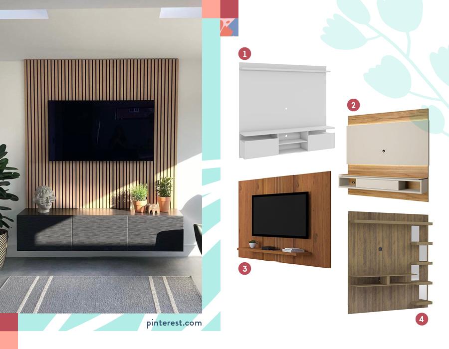Selección de paneles de TV 1-Panel tv 60 pulgadas / 2-Panel ow / 3-Panel terracota / 4-Panel tv 50 premium café