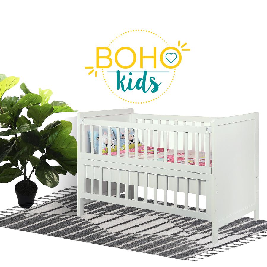 decoración boho para niños, cuna, planta