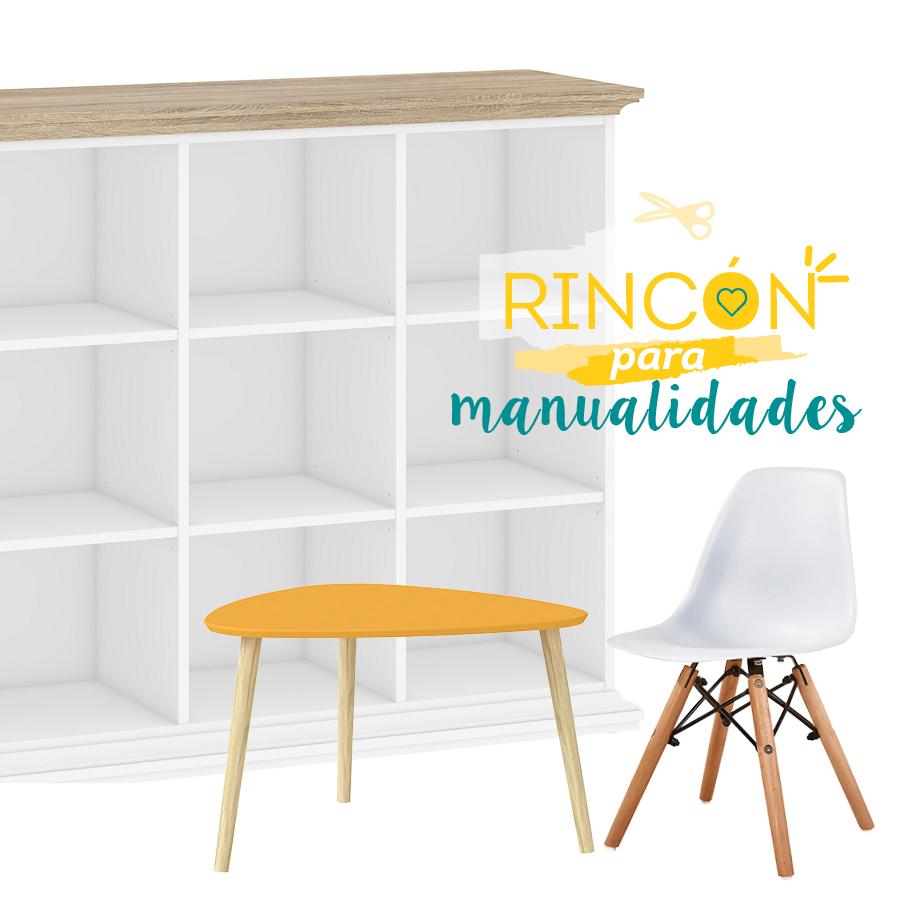 espacio para niños, estante, mesa de centro o infantil y silla para niños