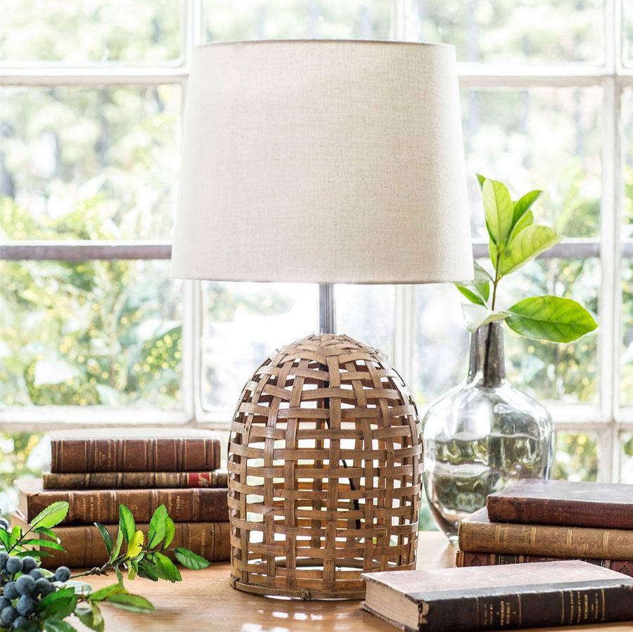 tendencia decorar con bambu lampara mesa bambu