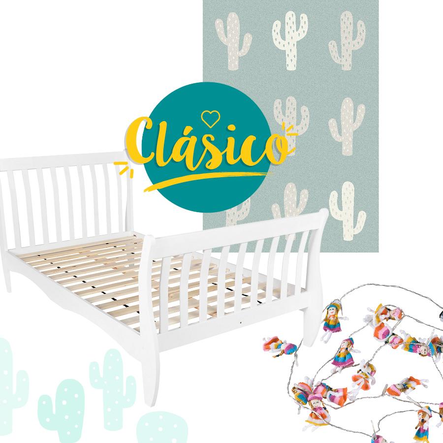 conjunto clásico con cama blanca, guirnaldas y alfombra con cáctus